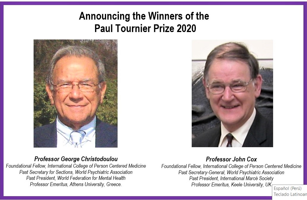 Paul Tournier Prize 2020 winners, Prof. George Christodoulou and Prof. John Cox.